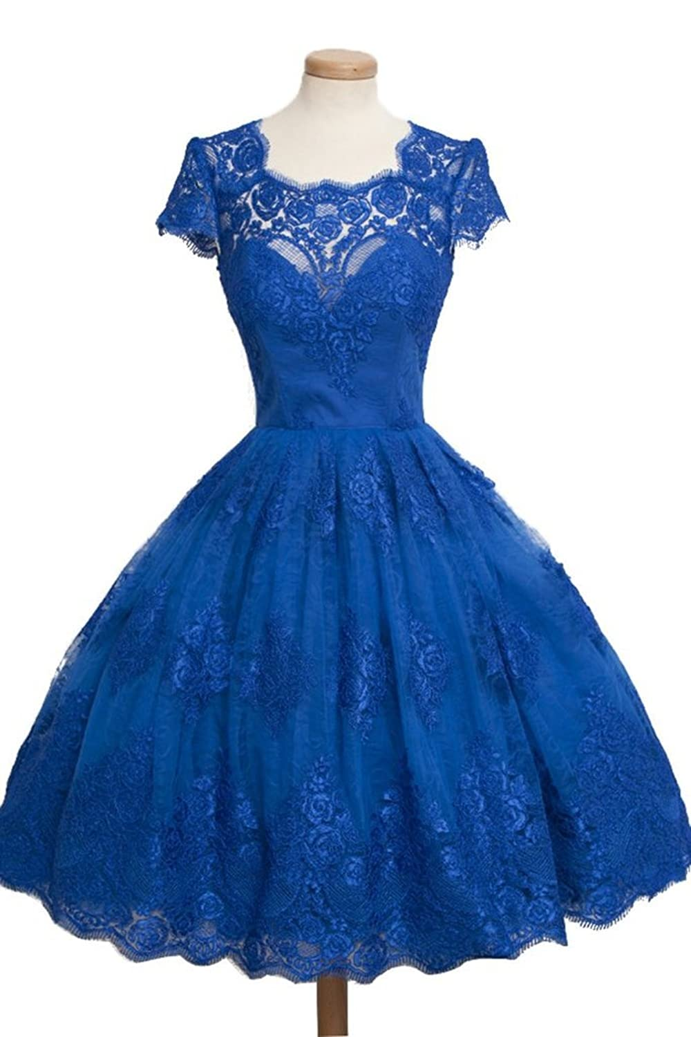 CLOCOLOR Women's Short A-line Lace Tulle Party Cocktail Dress Evening Formal Gowns