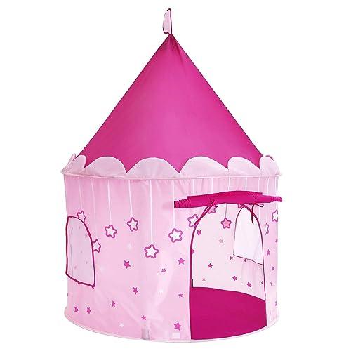 SONGMICS Tente de Jeu Chateau de Princesse pour Fille, Maison de Jeu Intérieure et Extérieur, Portatif avec Étoiles Brillantes, Cadeau pour Enfants, Certifiée par EN71, Rose LPT01PK