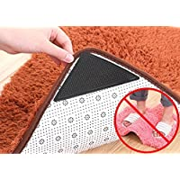 Washable non-slip fixed triangle patch for carpet ,No-glue Black,Rug Grippers Carpet Antislip Massage Mats Stickers in the Bath(Pack of 4)