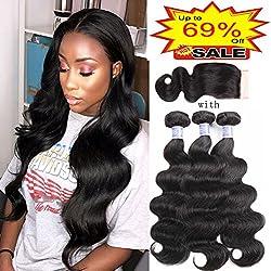 Sayas Hair 8A Grade Brazilian Body Wave 100g Per Bundle With 4x4 Free Part Closure Human Hair Bundles Weave Hair Human Bundles Brazilian Virgin Hair For African Americans Women (18 20 22+18inch)