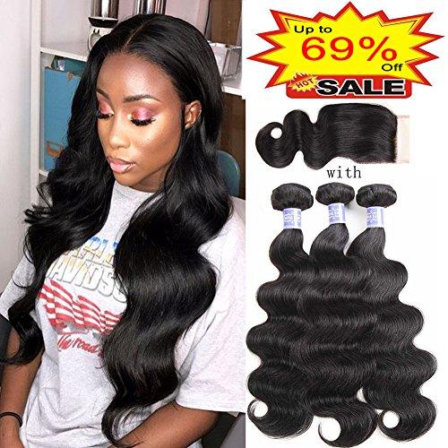 Sayas Hair 10A Grade Brazilian Body Wave Human Hair 3 Bundles With Closure 4x4 Inch Free Patr 100g(3.5oz)/bundle with 25g(0.9oz) Closure Total 325g(11.4oz) (10 12 14 with 10) inch