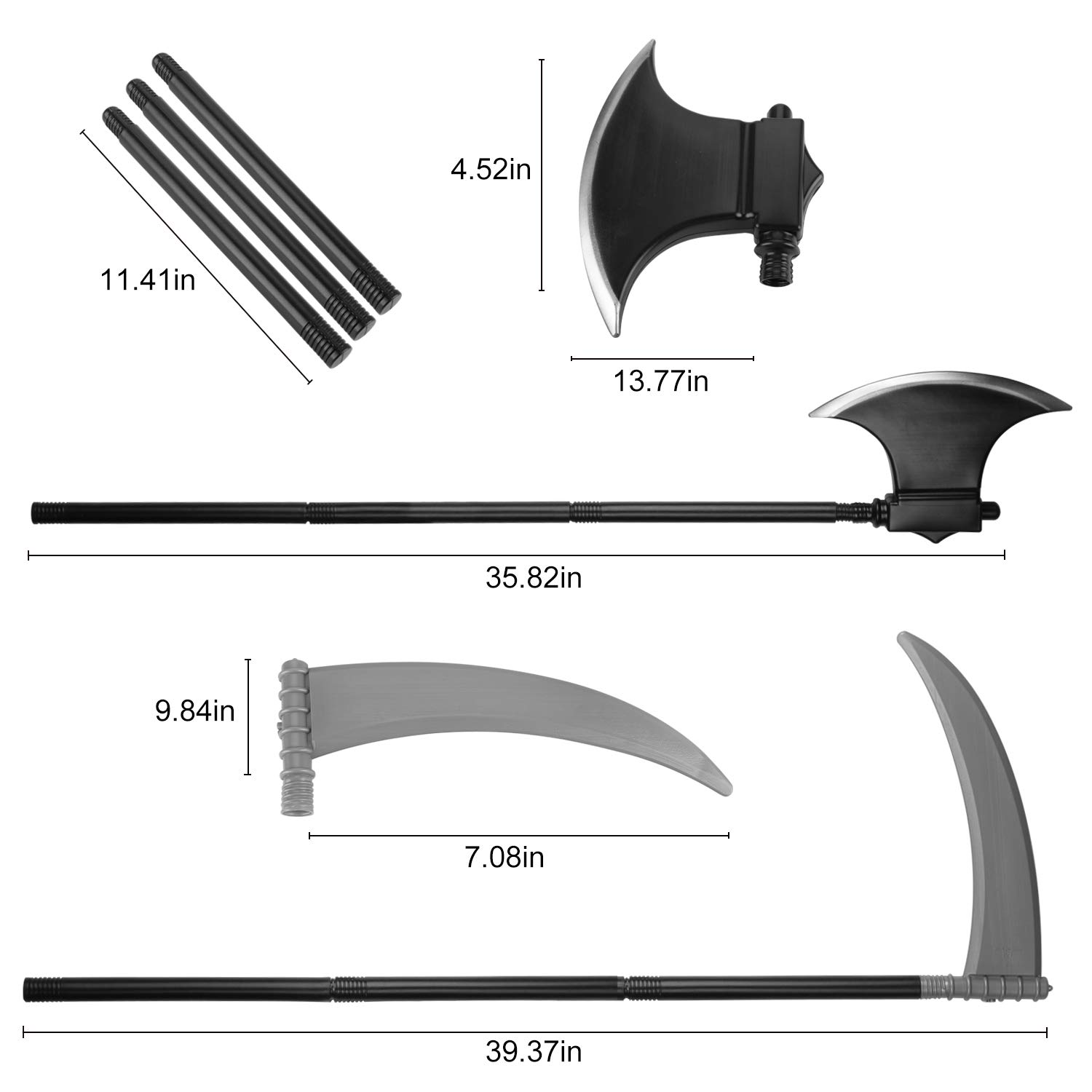 Fansport 2PCS Halloween Prop Novelty Simulated Axe Sickle Costume Prop Haunted House Prop