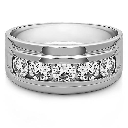 0,30 ct redonda natural diamond anillos de boda para hombre 14 K oro blanco