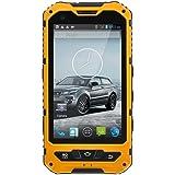 A8 Smartphone IP68 Étanche à La Poussière,Imperméable,antichoc 4 Pouces Android 4.4 5MP Caméra Dual SIM 3G WCDMA Débloqué(Jaune)