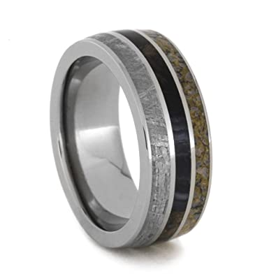 Titanium Wedding Band With Meteorite, Dinosaur Bone, & Petrified Wood, Fossil Jewelry