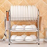 QETU 3-Layer Dish Rack,Stainless Steel Tray With Drain Tray,Kitchen Shelf Organized Appliance Bracket