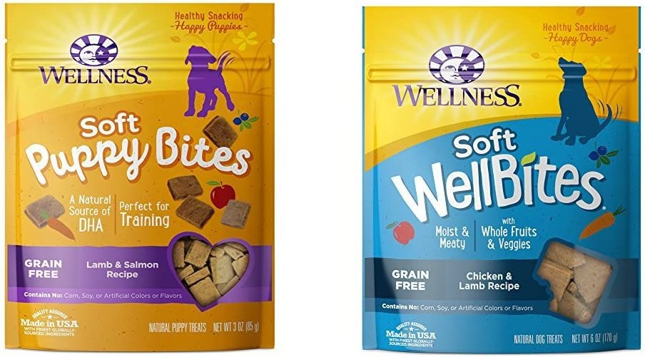 Wellness Soft Puppy Bites With Soft Wellbites Dog Treats, Chicken & Lamb Bundle