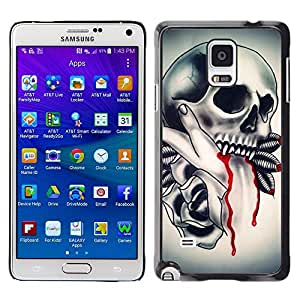 Eason Shop / Hard Slim Snap-On Case Cover Shell - Skull Vampire Blood Rose Feathers - For Samsung Galaxy Note 4 SM-N910