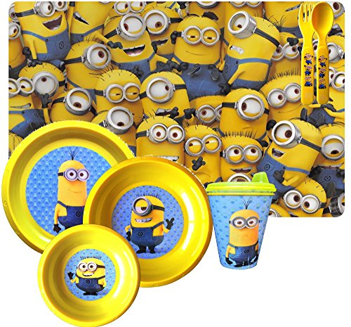 Despicable Me Minions Movie 6 Piece Dinnerware Set Reusable Includes Drinking Bottle, Placemat, Plate , Large Bowl and Small Bowl with (Minion Plates)