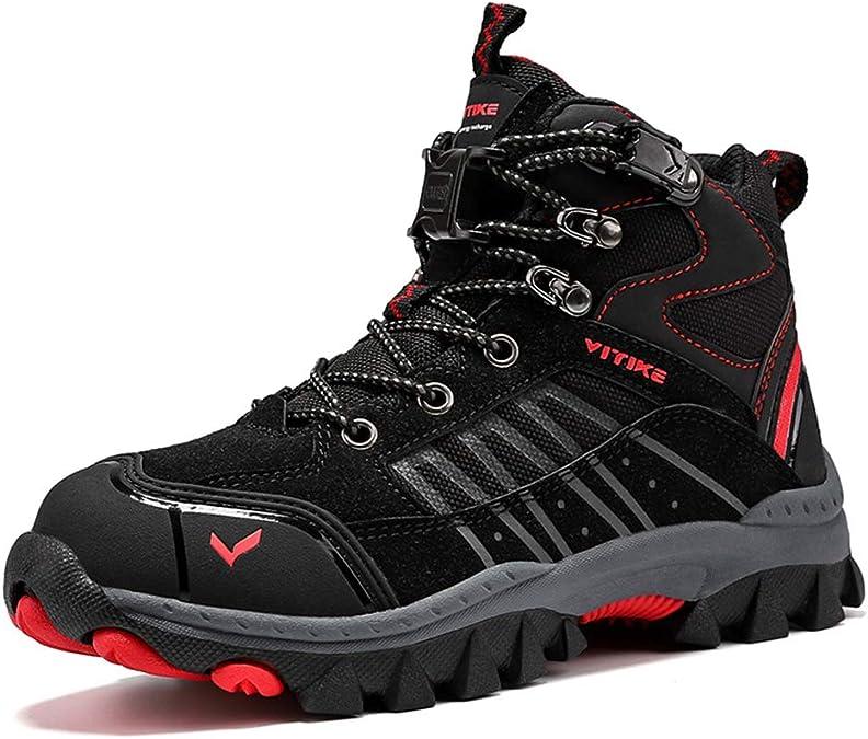 Kids Hiking Boots Boys Girls Outdoor Walking Climbing Sneaker Comfortable Non-Slip Snow Shoes Hiker Boot Antiskid Steel Buckle Sole
