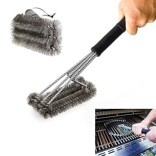 Pepeng Brosse de nettoyage triangle en métal pour grille de barbecue 45,7cm, poils robustes à trois branches en acier inoxydable pour un nettoyage plus facile et efficace, Acier inoxydable, 3-Branch