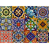 Bleucoin Mexican Tile Stickers, 12 Designs, Peel & Stick Vinyl Tile Decal for Kitchen & Bathroom Backsplash (12, 15cm x 15cm)
