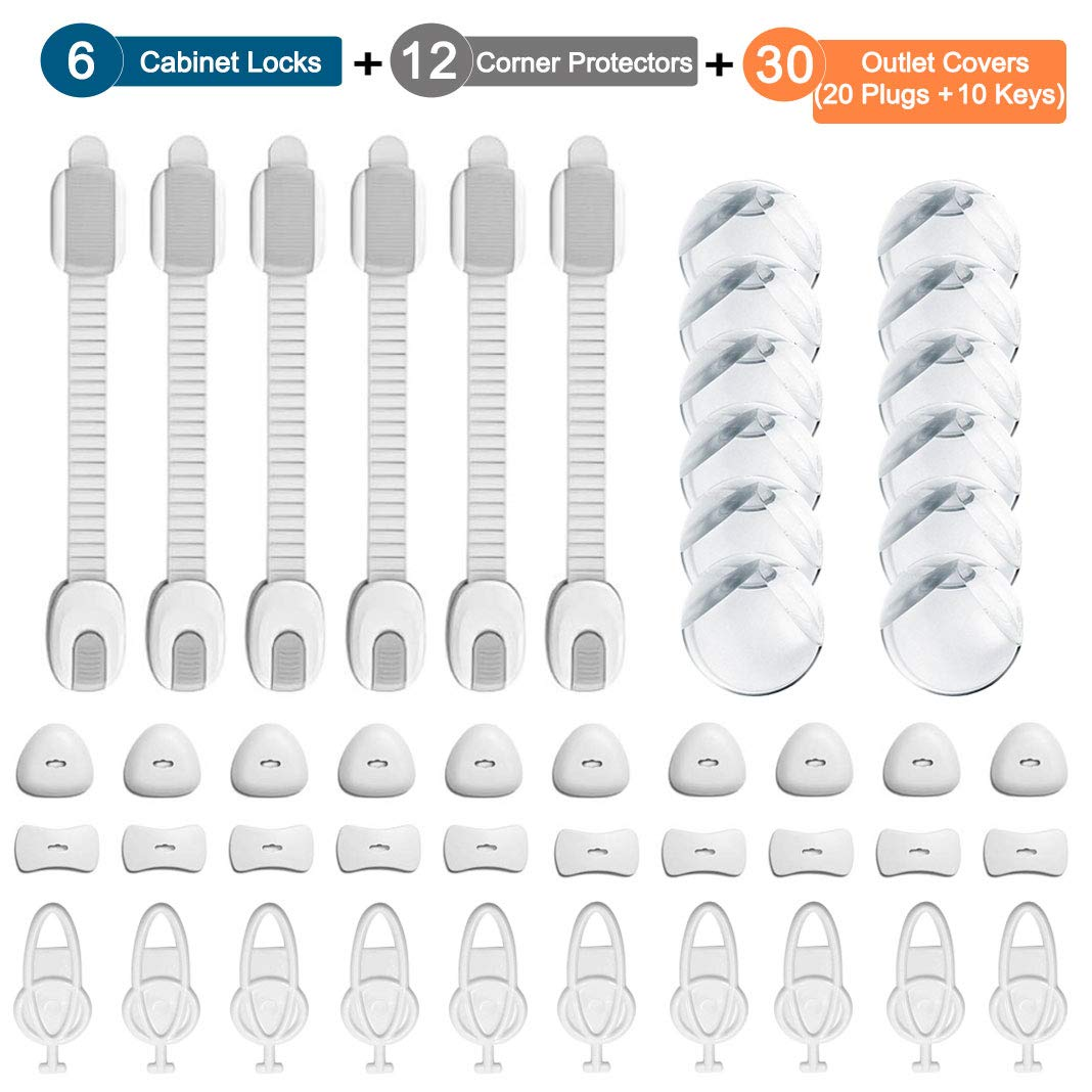 Dioxide 48pcs Baby Protection kit, 6 x Children Safety Lock 12 x Clear Corner Protectors, Outlet Plug Covers Baby Proofing Electric Protector Caps Kit for Child Safety (20 Plugs + 10 Keys) Oududianzi