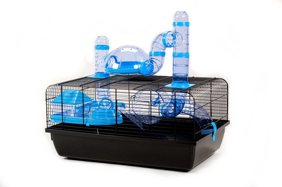 Little Friends Landmark Animal Cage with Accessories, Small, 58 x 38 x 29 cm, bluee
