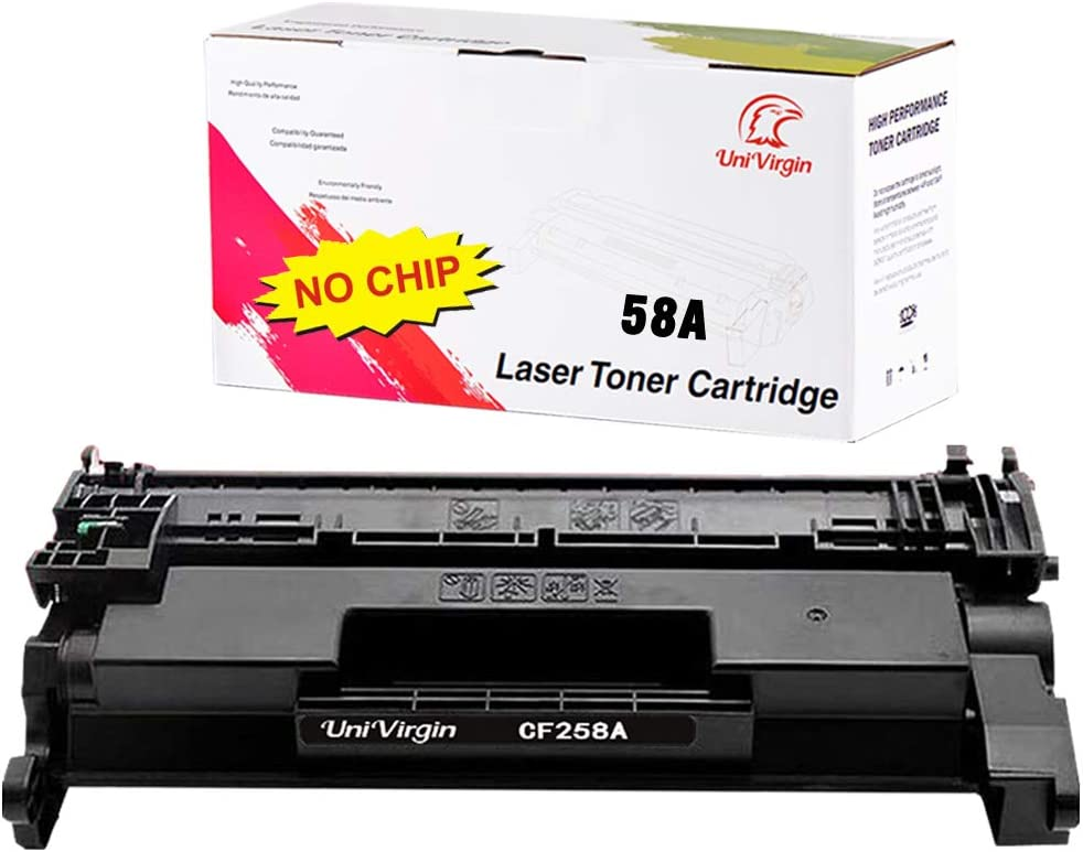 Univirgin (NO CHIP) Compatible Toner Cartridge Replacement for HP CF258A 58A for use in HP Laserjet Pro M304 M404n M404dn M404n 04dw, MFP M428fdw M428fdn M428dw Printer. (Black, 1-Pack)