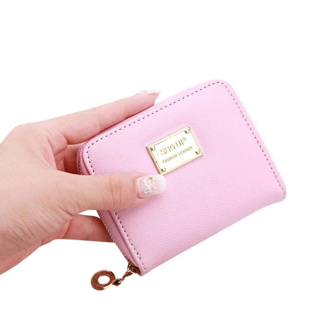 Hemlock Clutch Purse, Women Small Wallet Card Holder Zip Purse (Pink)