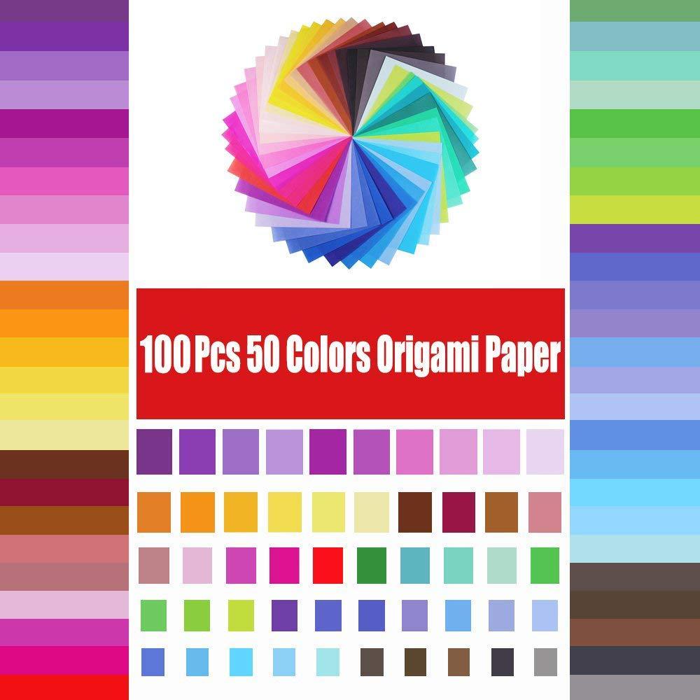 Carta Origami Carta Colorata a Mano,/250 Fogli di 50 Colori Vivaci Biadesivi DIY Crafts Paper Crane for Arts and Crafts Project Viene Fornito con Tutorial per Bambini e Principianti 15 * 15 cm
