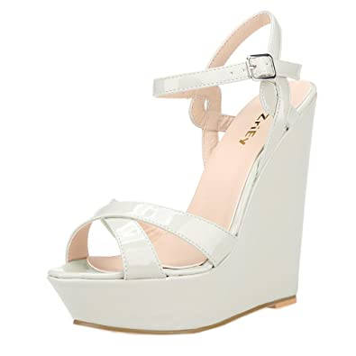5b93802337d ZriEy Women s Fashion Ankle Strap High Heel Wedge Sandals Patent Leather  Beige White Size 9.5