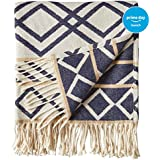 "Rivet Global Inspired Throw Blanket, 50"" x 60"", Navy and Natural"