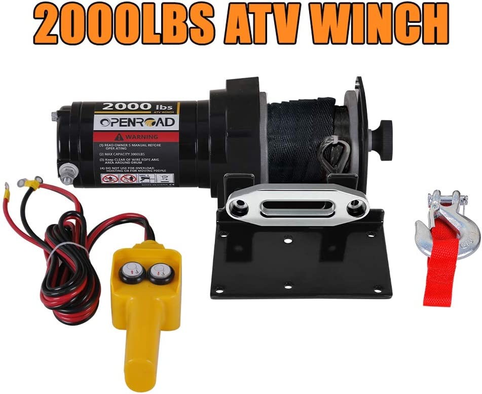 OPENROAD 2000Lbs ATV/UTV Winch With Cable,9m Cable Boat Winch With ...