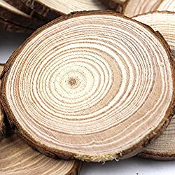 """Fuhaieec 50pcs 2.8-3.2"""" (Thickness:1cm) Unfinished Natural Wood Circles with Tree Bark Log Discs for DIY Craft Christmas Rustic Wedding Ornaments"""