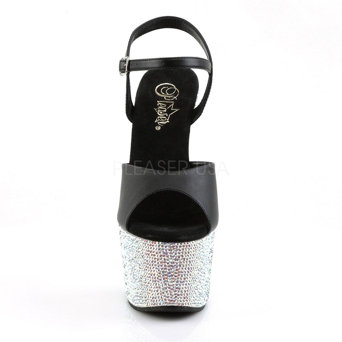 Pleaser Women's Bejeweled-709DM/BS/PWRS Ankle-Strap US|Blk Sandal B00ZQX50EC 5 B(M) US|Blk Ankle-Strap Faux Leather/Slv Multi Rs f7d164