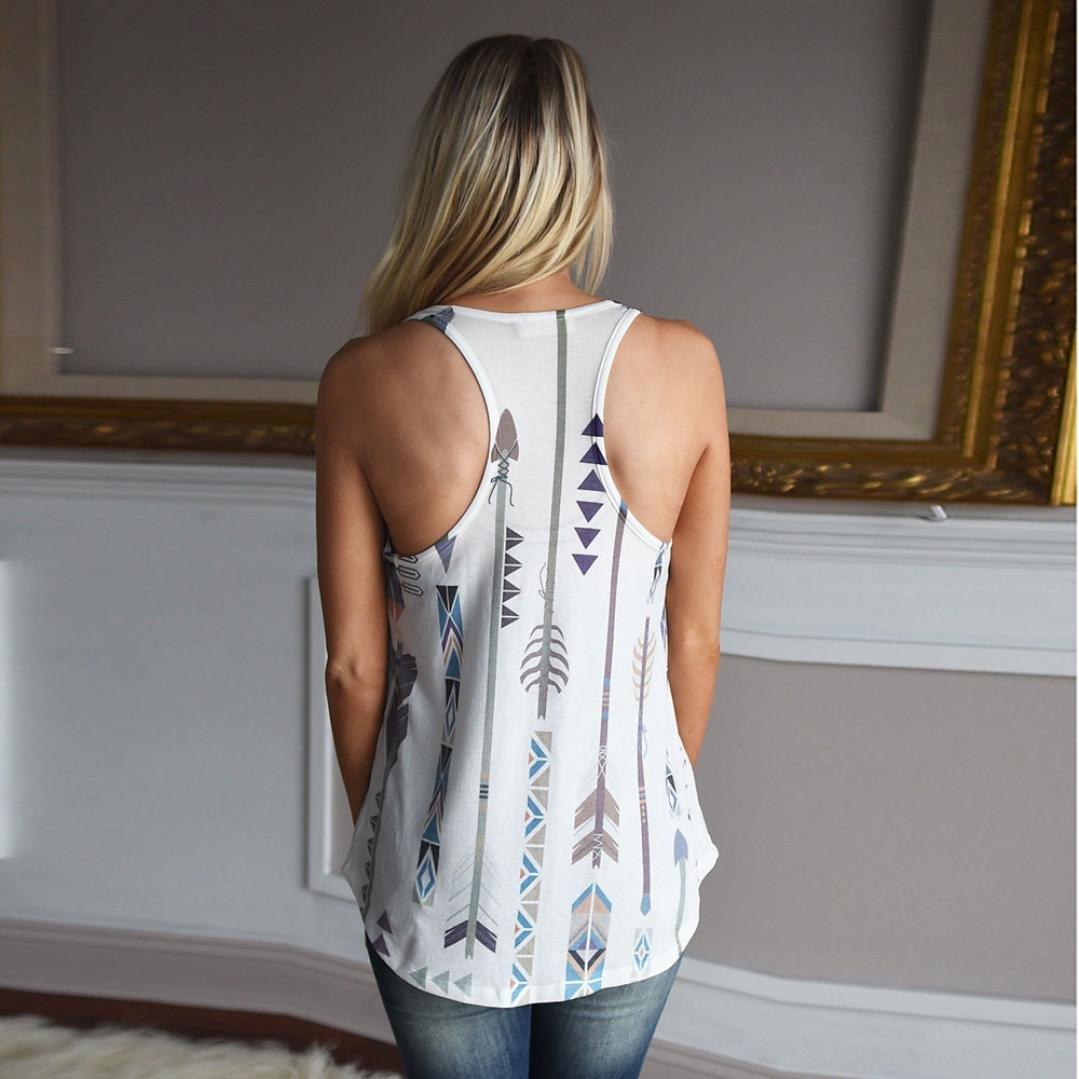 HODOD Women Basic Boho Print Racerback Loose Shirt Casual Tank Tops Vest Camis by HODOD (Image #3)