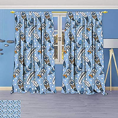Philiphome 2 Panel Set Digital Printed Window Curtains,Romantic Contemporary Leaves Dots Background Tribal Ethnic Image Light Blue White Amber for Bedroom Living Room Dining Room