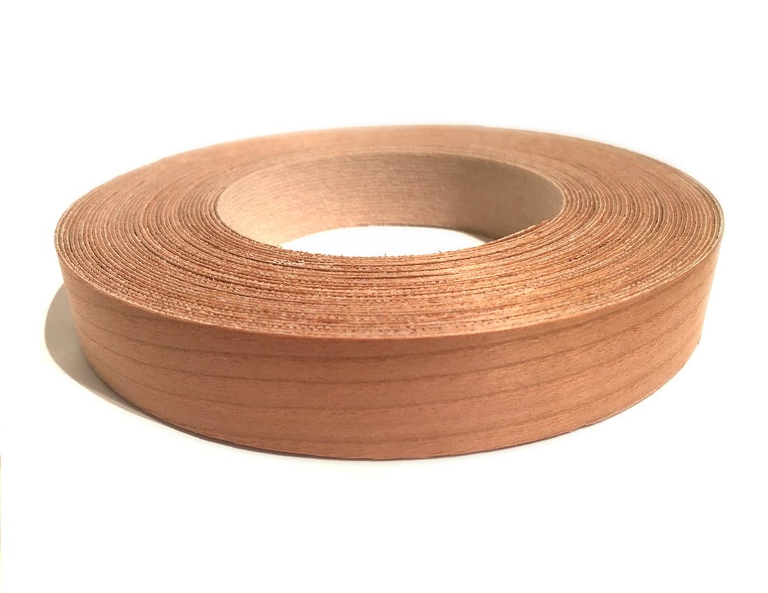 Cherry Preglued 2'' X 10' Wood Veneer Edgebanding Roll - Flexible Wood Tape, Easy Application Iron On with Hot Melt Adhesive. Smooth Sanded Finish. Made in USA.