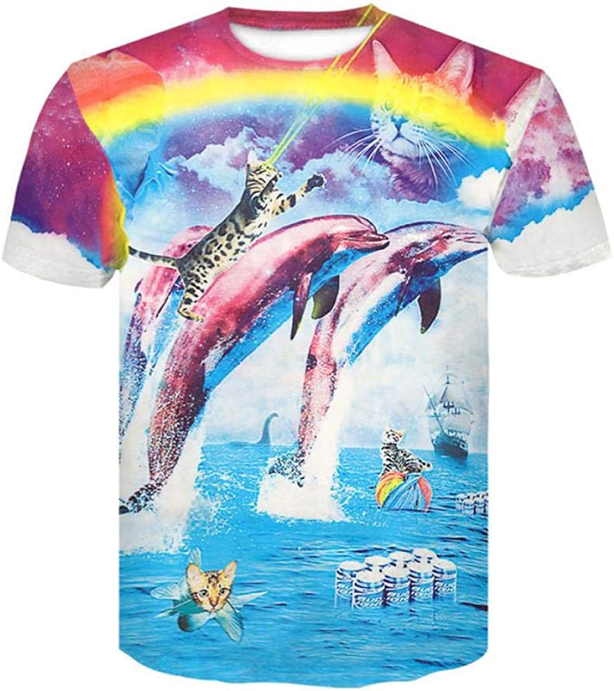 Camiseta Hombres Delfín Arcoiris 3D Digital Imprimen Camisetas Unisex Camisetas De Manga Corta Casual Hipster Camisas De Cuello Redondo Deportivas Sport tee para Hombres,XXXXL: Amazon.es: Ropa y accesorios