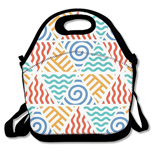 BCOWBONEOWGDF Adjustable Shoulder Strap Insulated Pop Retro Pattern Symbols Of Four Elements Air Water Fire And Thermal/Cooler Lunch Tote For Work School Kids Students Men Women Gifts ()