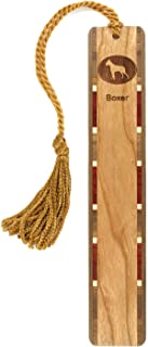 product image for Dog Bookmark - Boxer Engraved Wooden Bookmark with Tassel