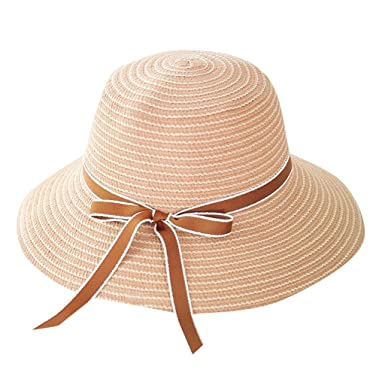 55198be3 Sun Hat Lady Wide Brim Floppy Hat Foldable Bow Summer Beach Straw Hat  Travel Cap at Amazon Women's Clothing store:
