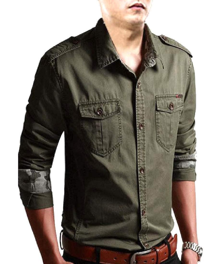 AngelSpace Men Vintage Tactical Slim Casual Pure Color Western Shirt