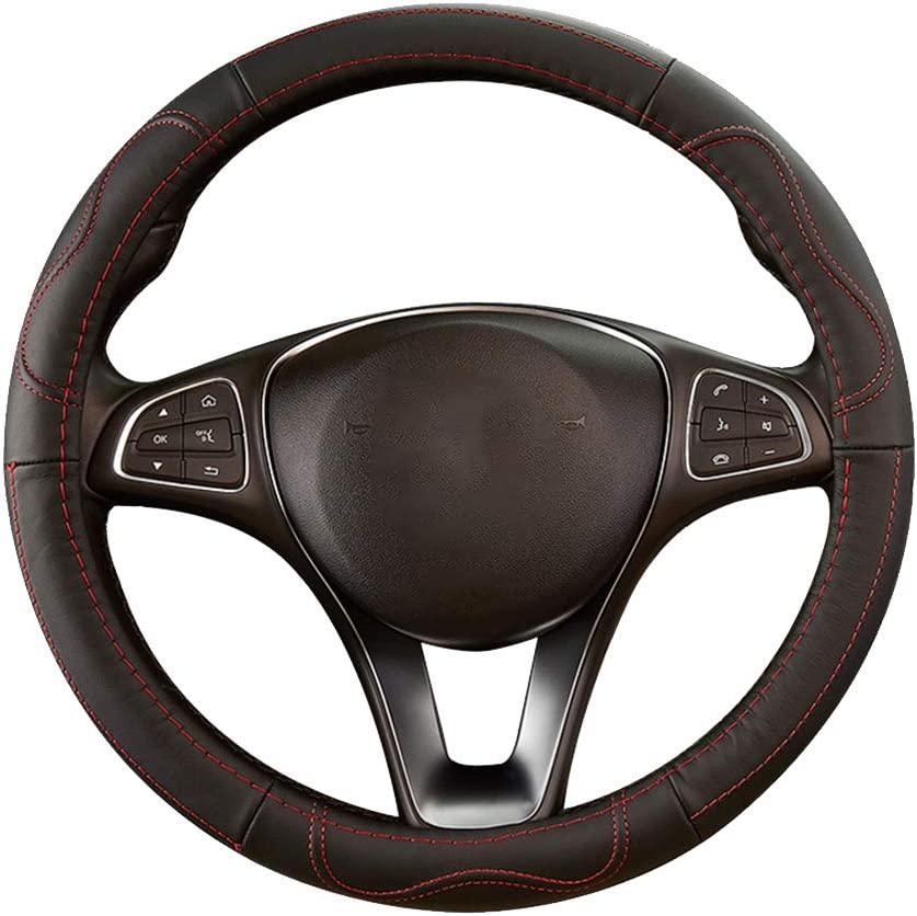 Car Steering Wheel Cover Genuine Leather Breathable Anti-Slip Wheel Protector Cover Universal 15 inch//38cm Interior Accessories for Auto Van Truck SUV SPDYCESS