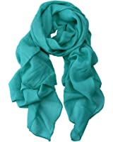 EccA Womens Scarf Linen Cotton Blended Fabric Solid Color