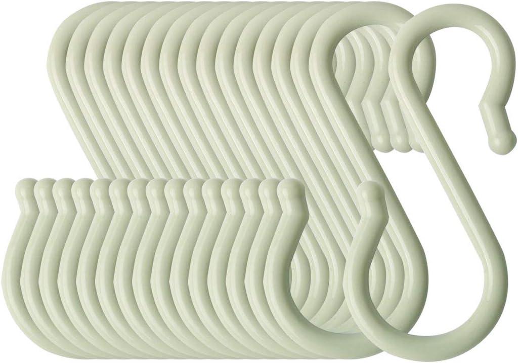 sourcing map S-f/örmigen Haken Kunststoff f/ür K/üche Bad Closet Hanger T/öpfe und Pfannen Tassen Utensilien Kleidung Handt/ücher Rack Hellgr/ün 4stk.
