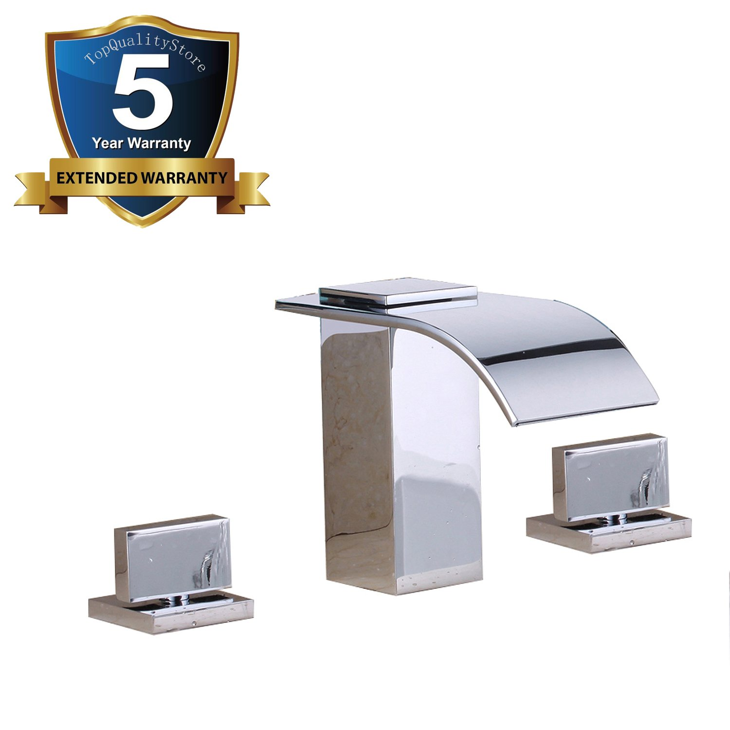 Bathroom Sink Faucet Two Handles Three Holes Polished Chrome Waterfall Widespread Tap by Topqualitystore
