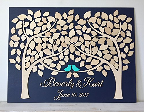 LOVE NILE Wedding Guest Book Alternative 3D Guestbook Wood Tree of Hearts Two Trees Grow Into One Navy Blue Wedding Decor Rustic Guest Book]()