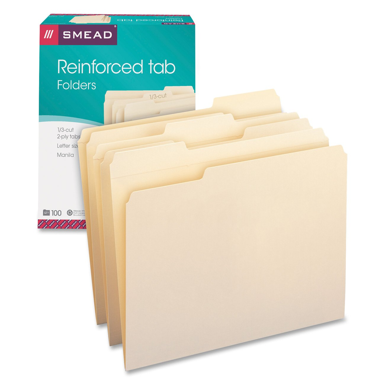Smead 1/3-Cut Assorted Position File Folders, Reinforced Tab, 11 Point, Letter Size, Manila, 100 Per Box (10334)
