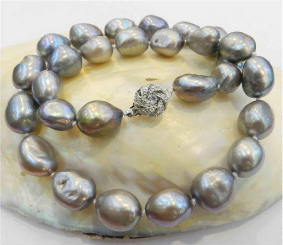 YMKCMC Collar Grande De Perlas Cultivadas Barrocas Reales De Color Gris Plateado De 10-11 Mm