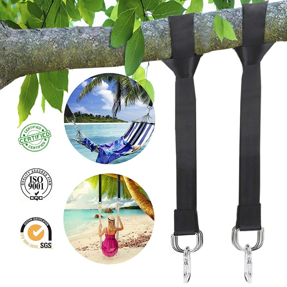 Tree Swing Hanging Kit Strap Outdoor Hanger Hammock Belt 5ft Nylon Webbing Strap With 2 Safe Zinc Alloy Carabiners Which Hold 4000 lbs Quick Installation & Release Adjustable 2 Pack+ 1 Carrying Bag by DoNuuLi (Image #1)