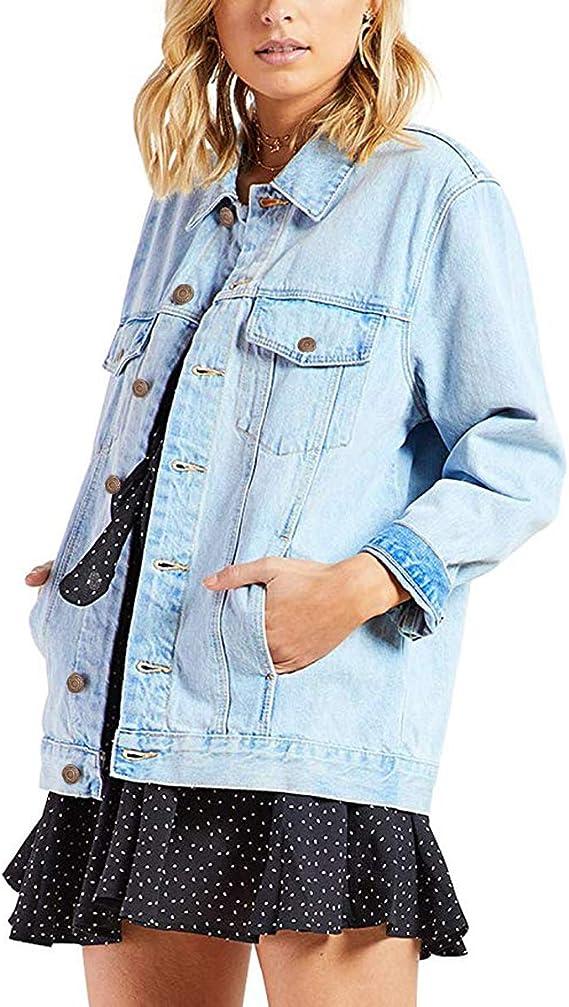 Oversized Denim Jacket for Women | Blue boyfriend jean jacket for fall wardrobe | Classic denim jacket