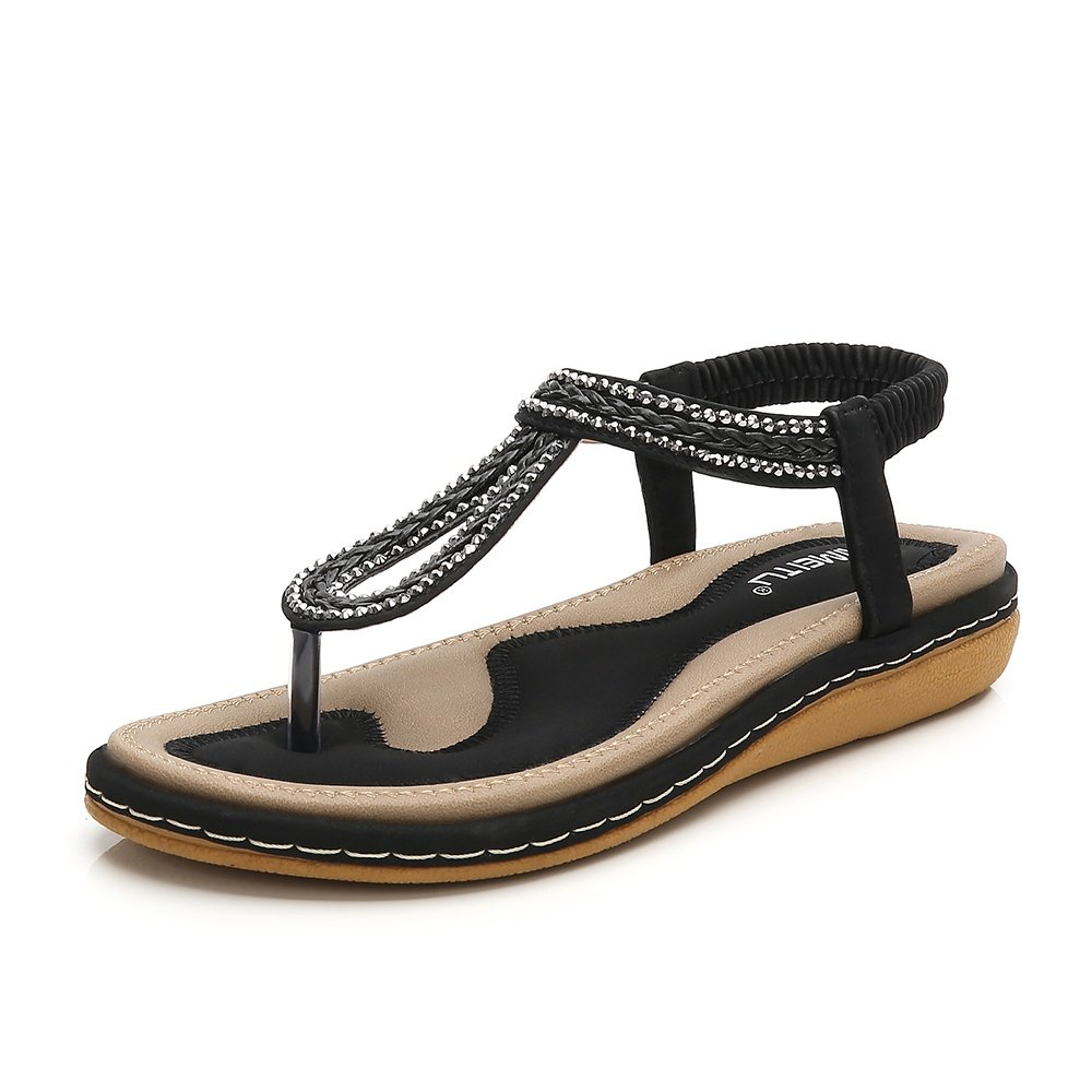 Meeshine Women T-Strap Rhinestone Beaded Gladiator Flat Sandals Summer Beach Sandal Black-02 US 9