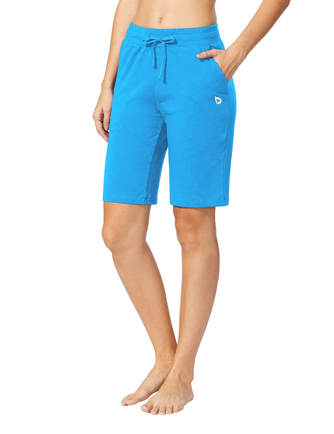Baleaf Women's Active Yoga Lounge Bermuda Shorts with Pockets Lapis Blue Size M by Baleaf