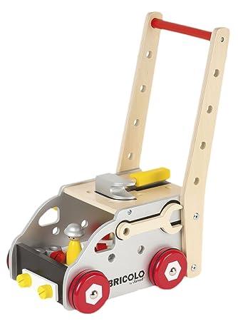 Janod Madera Juguete – Banco de trabajo carro accesorios Surtido redmaster Herramientas 24 piezas, multicolor
