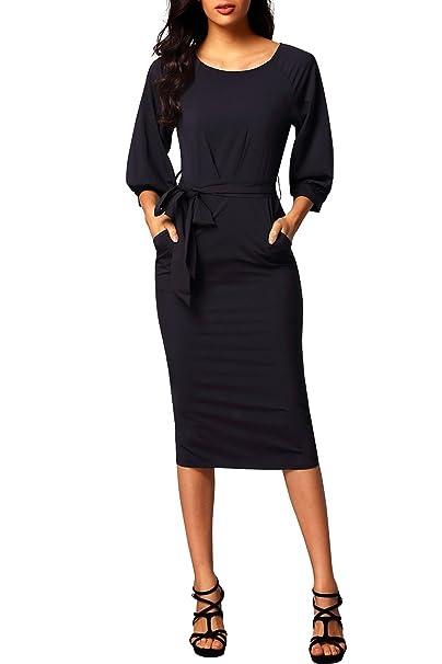 664c55a30b made2envy Puff Sleeve Belt Chiffon Pencil Dress at Amazon Women s ...