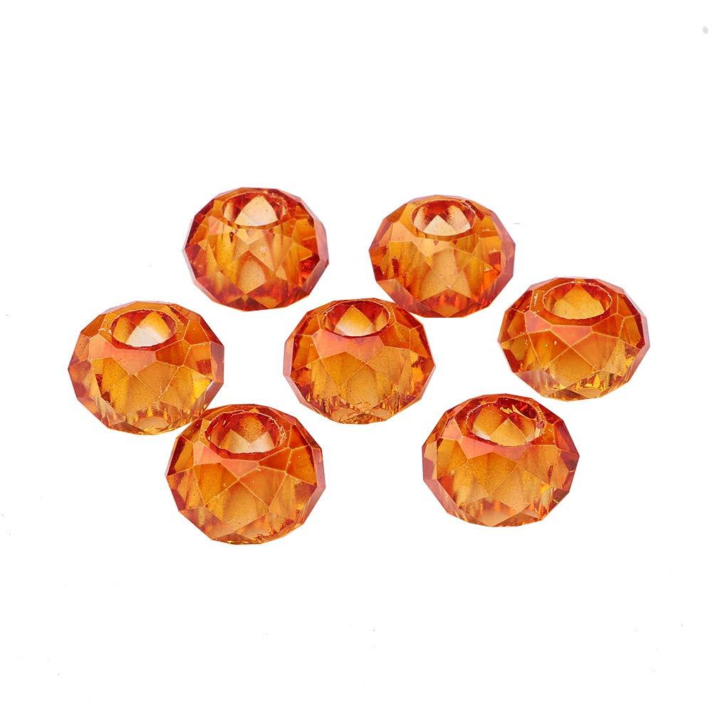 Cuentas Grandes con Agujero para bisuter/ía Naranja Manualidades Vidrio NBEADS 100 Cuentas de Cristal facetadas de Colores Mezclados Forma de Rombos