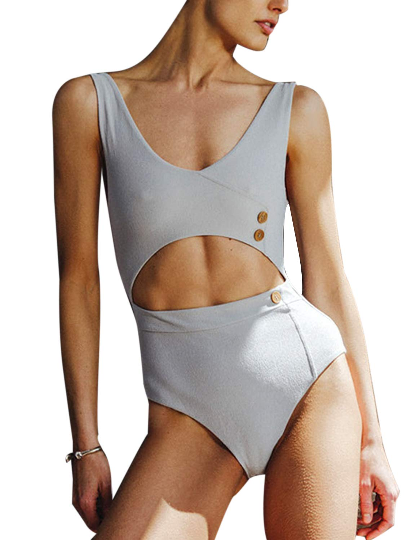 May Women's Low Scoop Cut Out One Piece Swimsuit High Waist Swimwear Bathing Suit Grey