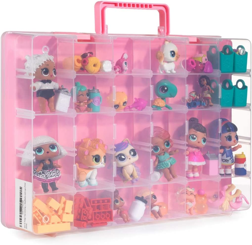 Bins & Things Toy Storage Organizer and Display Case Compatible with LOL Dolls, Shopkins and LPS Figures - Portable Adjustable Box w/Carrying Handle
